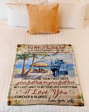 """FAM10123BL - To My Husband Love You Longer Small Fleece Blanket - 30"""" x 40"""" aos-coral-fleece-blanket-30x40-lifestyle-front-04"""