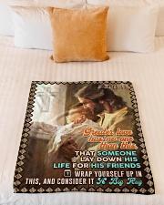 "JES10046BL - Jesus Christ  Small Fleece Blanket - 30"" x 40"" aos-coral-fleece-blanket-30x40-lifestyle-front-04"