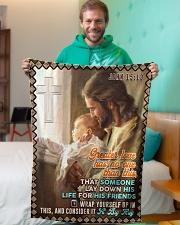 "JES10046BL - Jesus Christ  Small Fleece Blanket - 30"" x 40"" aos-coral-fleece-blanket-30x40-lifestyle-front-09"