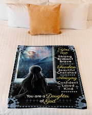 """JES10096 - You Are A Daughter Of God Small Fleece Blanket - 30"""" x 40"""" aos-coral-fleece-blanket-30x40-lifestyle-front-04"""