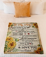 """BL10009 - To My Mom Sunflower Daughter Letter Small Fleece Blanket - 30"""" x 40"""" aos-coral-fleece-blanket-30x40-lifestyle-front-04"""