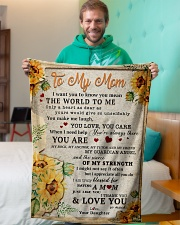 """BL10009 - To My Mom Sunflower Daughter Letter Small Fleece Blanket - 30"""" x 40"""" aos-coral-fleece-blanket-30x40-lifestyle-front-09"""
