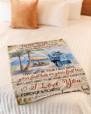 """FAM10111BL - To My Wife Love You Longer Small Fleece Blanket - 30"""" x 40"""" aos-coral-fleece-blanket-30x40-lifestyle-front-01"""