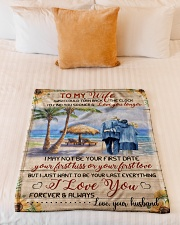 """FAM10111BL - To My Wife Love You Longer Small Fleece Blanket - 30"""" x 40"""" aos-coral-fleece-blanket-30x40-lifestyle-front-04"""