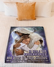 "JES10039BL - Jesus Christ  Small Fleece Blanket - 30"" x 40"" aos-coral-fleece-blanket-30x40-lifestyle-front-04"