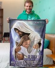 "JES10039BL - Jesus Christ  Small Fleece Blanket - 30"" x 40"" aos-coral-fleece-blanket-30x40-lifestyle-front-09"