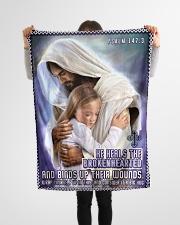 "JES10039BL - Jesus Christ  Small Fleece Blanket - 30"" x 40"" aos-coral-fleece-blanket-30x40-lifestyle-front-14"