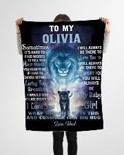 """FBC10007N - To My Olivia Lion Dad Letter Small Fleece Blanket - 30"""" x 40"""" aos-coral-fleece-blanket-30x40-lifestyle-front-14"""