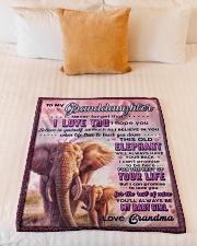"BL10077 - To Granddaughter Love Grandma Elephant Small Fleece Blanket - 30"" x 40"" aos-coral-fleece-blanket-30x40-lifestyle-front-04"
