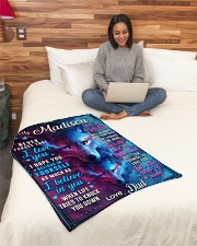 """BL10056N - To My Madison Dad Letter Small Fleece Blanket - 30"""" x 40"""" aos-coral-fleece-blanket-30x40-lifestyle-front-08"""