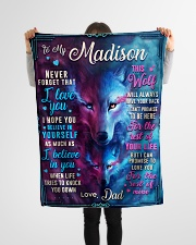 """BL10056N - To My Madison Dad Letter Small Fleece Blanket - 30"""" x 40"""" aos-coral-fleece-blanket-30x40-lifestyle-front-14"""