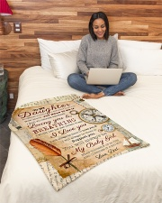 """BL10045 - To My Daughter Old Postcard Dad Letter Small Fleece Blanket - 30"""" x 40"""" aos-coral-fleece-blanket-30x40-lifestyle-front-08"""