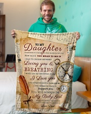 """BL10045 - To My Daughter Old Postcard Dad Letter Small Fleece Blanket - 30"""" x 40"""" aos-coral-fleece-blanket-30x40-lifestyle-front-09"""