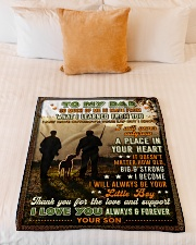 """BL10096 - To My Dad Hunting Love Son Small Fleece Blanket - 30"""" x 40"""" aos-coral-fleece-blanket-30x40-lifestyle-front-04"""