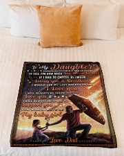 """BL10052 - To My Daughter Dad With Love Small Fleece Blanket - 30"""" x 40"""" aos-coral-fleece-blanket-30x40-lifestyle-front-04"""
