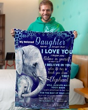 """BL10020 - Beloved Daughter Elephant Christmas Small Fleece Blanket - 30"""" x 40"""" aos-coral-fleece-blanket-30x40-lifestyle-front-09"""