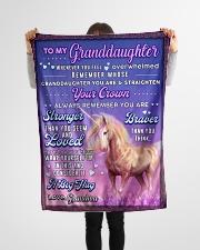 "BL10083 - To Granddaughter Love Grandma Unicorn Small Fleece Blanket - 30"" x 40"" aos-coral-fleece-blanket-30x40-lifestyle-front-14"
