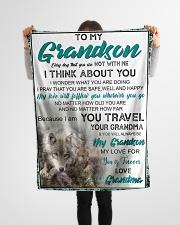 "FBC10034 - To My Grandson Small Fleece Blanket - 30"" x 40"" aos-coral-fleece-blanket-30x40-lifestyle-front-14"