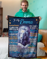 """BL10048N - To My Emma Dad Letter Lion Small Fleece Blanket - 30"""" x 40"""" aos-coral-fleece-blanket-30x40-lifestyle-front-09"""