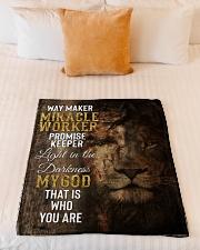 "JES10091BL - Jesus Way Maker Miracle Worker Small Fleece Blanket - 30"" x 40"" aos-coral-fleece-blanket-30x40-lifestyle-front-04"