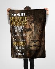 "JES10091BL - Jesus Way Maker Miracle Worker Small Fleece Blanket - 30"" x 40"" aos-coral-fleece-blanket-30x40-lifestyle-front-14"