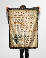 """FBC10048 - Husband To Wife Deers Small Fleece Blanket - 30"""" x 40"""" aos-coral-fleece-blanket-30x40-lifestyle-front-14"""