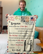 """FBL10013A - To Benjamin Dad Letter Family  Small Fleece Blanket - 30"""" x 40"""" aos-coral-fleece-blanket-30x40-lifestyle-front-09"""