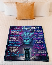 """BL10054 - To My Daughter Lion Dad Letter Small Fleece Blanket - 30"""" x 40"""" aos-coral-fleece-blanket-30x40-lifestyle-front-04"""