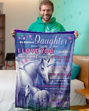 """BL10015 - Beloved Daughter Unicorn 2 Small Fleece Blanket - 30"""" x 40"""" aos-coral-fleece-blanket-30x40-lifestyle-front-09"""