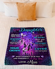 """BL10060 - Daughter Butterfly Night Mom Love Small Fleece Blanket - 30"""" x 40"""" aos-coral-fleece-blanket-30x40-lifestyle-front-04"""
