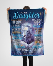 """BL10048 - To My Daughter Dad Letter Lion Small Fleece Blanket - 30"""" x 40"""" aos-coral-fleece-blanket-30x40-lifestyle-front-14"""