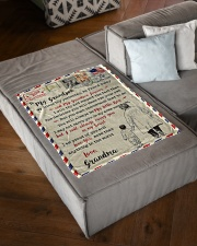 """FBL10056 To My Grandson Letter Family Small Fleece Blanket - 30"""" x 40"""" aos-coral-fleece-blanket-30x40-lifestyle-front-03"""