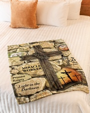 "Jes10093 - Jesus Way Maker Miracle Worker Small Fleece Blanket - 30"" x 40"" aos-coral-fleece-blanket-30x40-lifestyle-front-01"