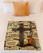 "Jes10093 - Jesus Way Maker Miracle Worker Small Fleece Blanket - 30"" x 40"" aos-coral-fleece-blanket-30x40-lifestyle-front-04"