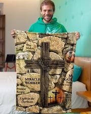 "Jes10093 - Jesus Way Maker Miracle Worker Small Fleece Blanket - 30"" x 40"" aos-coral-fleece-blanket-30x40-lifestyle-front-09"