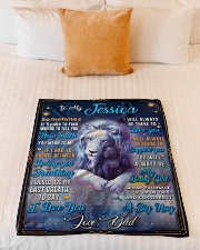 """BL10048N - To My Jessica Dad Letter Lion Small Fleece Blanket - 30"""" x 40"""" aos-coral-fleece-blanket-30x40-lifestyle-front-04"""