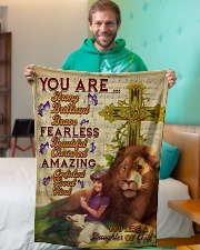 """JES10094 - You Are A Daughter Of God Small Fleece Blanket - 30"""" x 40"""" aos-coral-fleece-blanket-30x40-lifestyle-front-09"""