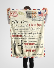 """FBL10012 - To My Son With Love Dad Letter Family  Small Fleece Blanket - 30"""" x 40"""" aos-coral-fleece-blanket-30x40-lifestyle-front-14"""