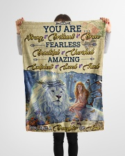 """JES10098 - You Are A Daughter Of God Small Fleece Blanket - 30"""" x 40"""" aos-coral-fleece-blanket-30x40-lifestyle-front-14"""