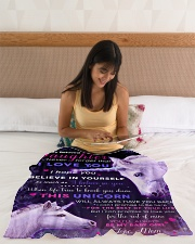 """BL10017 - Beloved Daughter Unicorn 3 Small Fleece Blanket - 30"""" x 40"""" aos-coral-fleece-blanket-30x40-lifestyle-front-12"""