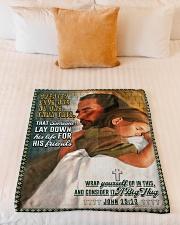 "JES10045BL - Jesus Christ  Small Fleece Blanket - 30"" x 40"" aos-coral-fleece-blanket-30x40-lifestyle-front-04"