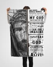 "JES10102 - Jesus Way Maker Miracle Worker Small Fleece Blanket - 30"" x 40"" aos-coral-fleece-blanket-30x40-lifestyle-front-14"