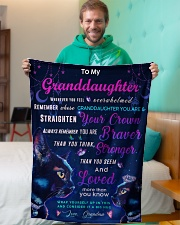 """BL10037P - Granddaughter Cat Night - Personalized Small Fleece Blanket - 30"""" x 40"""" aos-coral-fleece-blanket-30x40-lifestyle-front-09"""