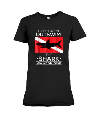Out Swim My Dive Buddy Funny Shark Scuba Shirt