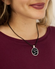 A97 Aum Symbol Cord Circle Necklace aos-necklace-circle-cord-lifestyle-1