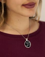 A97 Aum Symbol Metallic Circle Necklace aos-necklace-circle-metallic-lifestyle-1