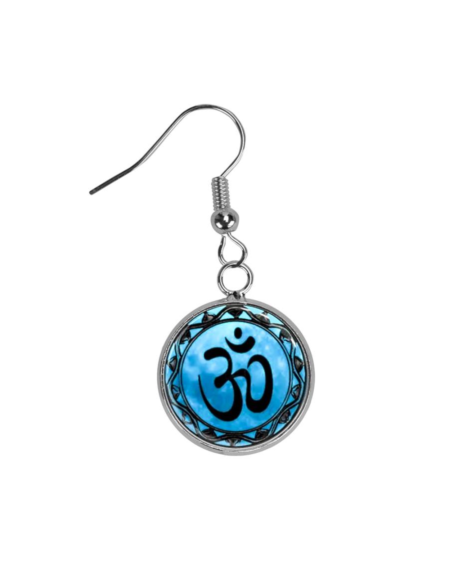 Yoga A97 Blue Om Circle Earrings
