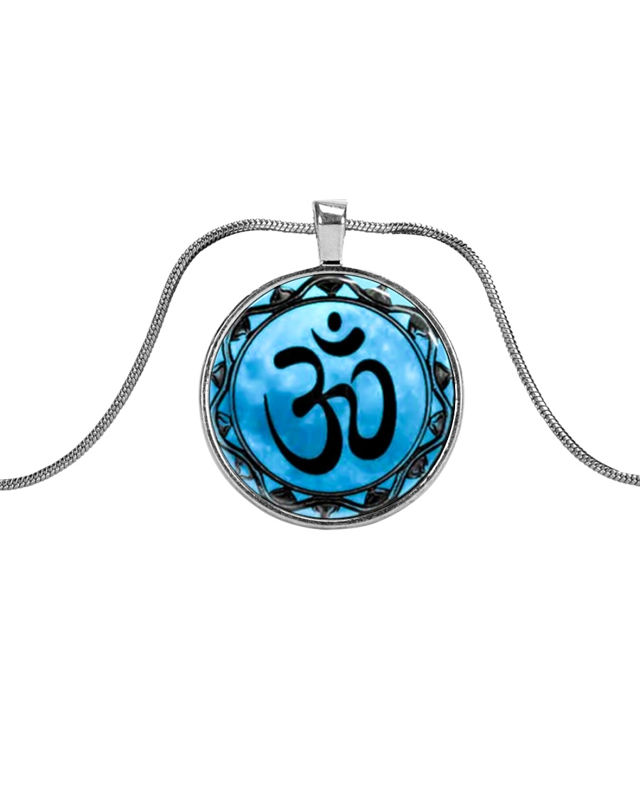 Yoga A97 Blue Om Metallic Circle Necklace