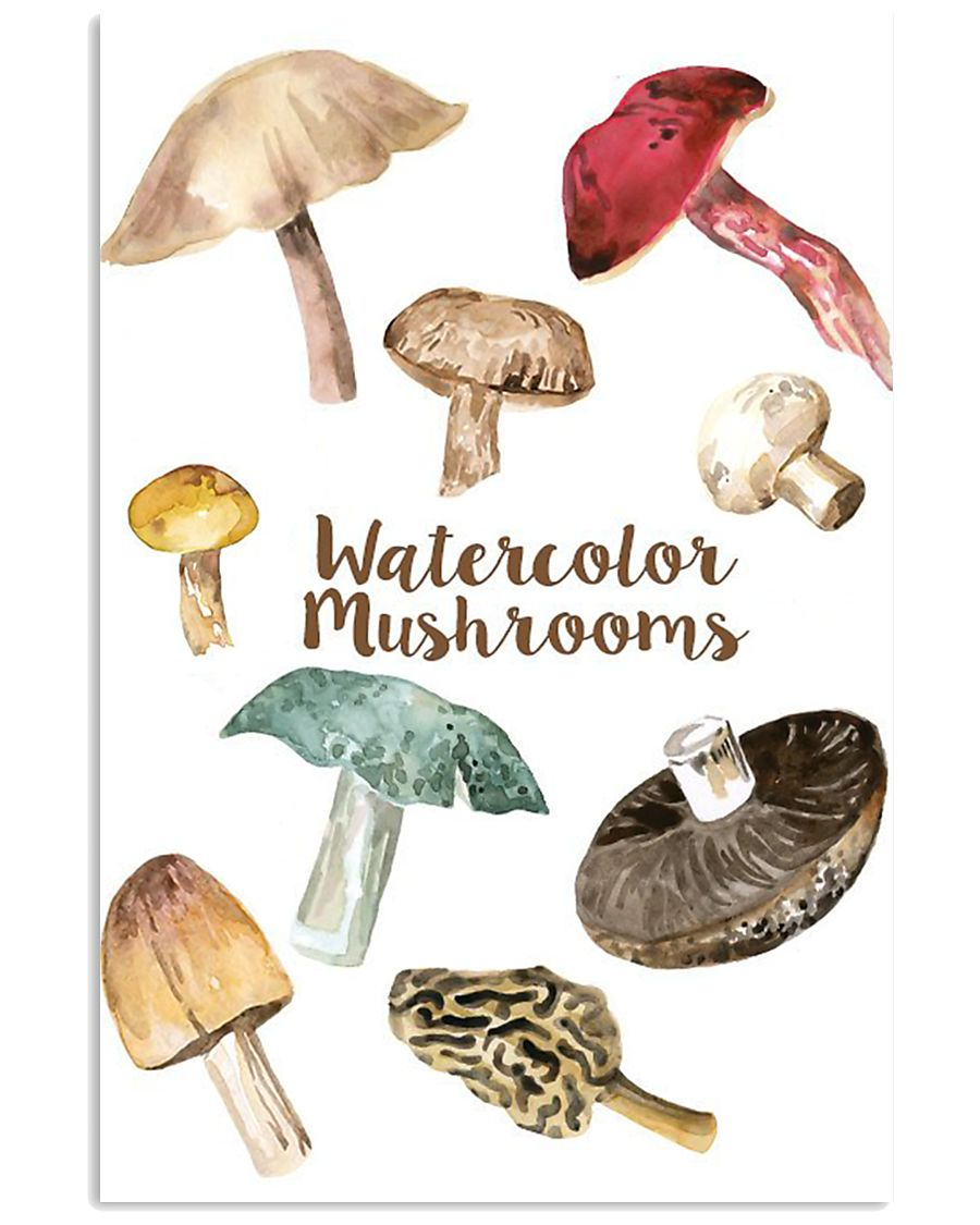 HD Water Color Mushrooms 11x17 Poster showcase