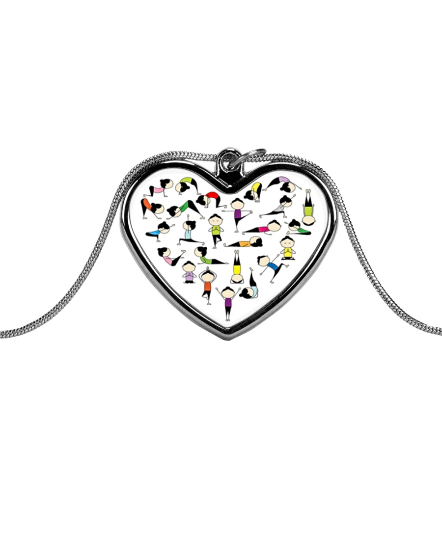 Yoga Positions Heart Metallic Heart Necklace